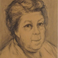 Portrait of a Woman, 1951 or 1957, Pencil on card, 39 x 29 cm, Gotlib Family Collection