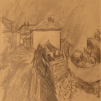 Harbour at Newlyn, 1956, Charcoal on paper, 34 x 25 cm, Gotlib Family Collection