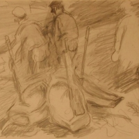 Fishermen in Concarneau, 1958, Pencil on paper, 25 x 35 cm, Gotlib Family Collection