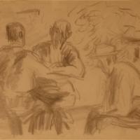 Three Men In a Café, Val di Castello, 1960, Pencil on paper, 37 x 56 cm, Gotlib Family Collection