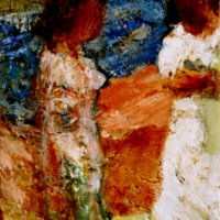 Two Italian Girls, 1962, Oil on hardboard, 29 x 13 cm, Gotlib Family Collection