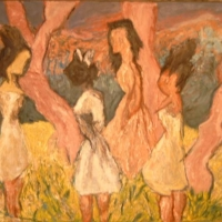 Girls Among Olive Trees, 1963, Oil on canvas, 101.5 x 137 cm, Private Collection