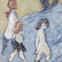 Three Children, 1963, Oil on hardboard, 46 x 36 cm, The Simonow Collection