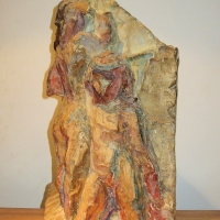 Two figures, pre 1949, Painted plaster, 51 cm high, Gotlib Family Collection