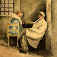 Two People Sitting at a Table, 1910-13, Watercolour, 25 x 29.5 cm, Gotlib Family Collection