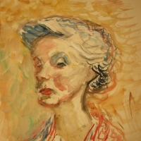 Mrs L, 1958, Watercolour, 53 x 46 cm, Gotlib Family Collection