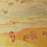 Porthscatho, 1965, Watercolour on paper, 25 x 34 cm, Gotlib Family Collection