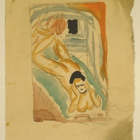 Nude Lying on a Sofa, pre 1932, Watercolour & pencil, 19 x 12 cm, Gotlib Family Collection