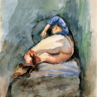 Nude lying on a sofa, pre 1934, Watercolour, 33 x 26 cm, Gotlib Family Collection
