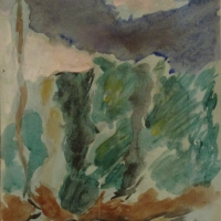 Sketch for oil painting - Trees in the garden, 1966, Watercolour, 25 x 20 cm, Gotlib Family Collection