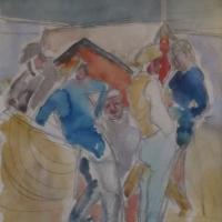 Five men engaged in conversation, circa 1922, Watercolour &pencil, 27.9 x 24.8 cm, Gotlib Family Collection