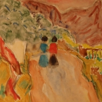 Two girls on a road, Italy, Undated, Watercolour, 33.5 x 24 cm, Gotlib Family Collection