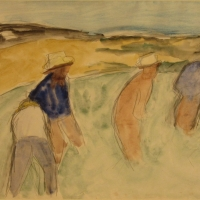 Four Men Working in a Field, Siena, 1964, Watercolour & pencil, 34.5 x 49, Gotlib Family Collection
