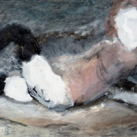 Sketch of a Woman Lying on a Couch, 1966, Gouache & charcoal, 24.5 x 34.5 cm, Private collection